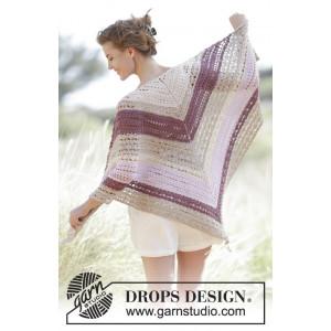 Addiena by DROPS Design - Crochet Shawl with fan and lace Pattern 176x88 cm
