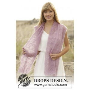 Spring Blush by DROPS Design - Knitted Stole with Lace Pattern 168x30 cm
