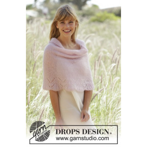 Candyfloss by DROPS Design - Knitted Poncho with fan edge Pattern size S - XXXL