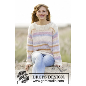 Forever Young by DROPS Design - Knitted Jumper with Double Moss Pattern size S - XXXL