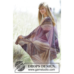 Purple Love by DROPS Design - Knitted Blanket with Squares Pattern 150x90 cm