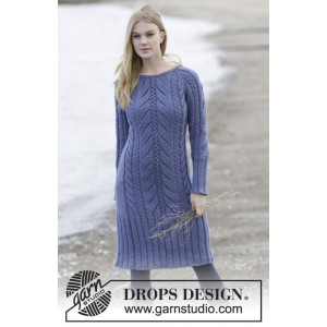 Regal Splendour by DROPS Design - Knitted Dress with raglan, cables and textured Pattern size S - XXXL