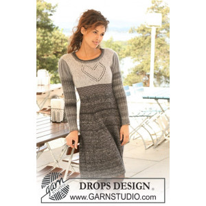 I Love Lucy by DROPS Design - Knitted Dress with Heart on yoke Pattern size XS - XXXL
