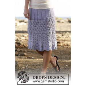 Spring Break by DROPS Design - Knitted Skirt with Lace Pattern size S - XXXL