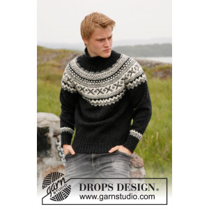 Neville by DROPS Design - Knitted Sweater with round yoke in Nordic Pattern size S - XXXL