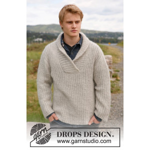 Parker by DROPS Design - Knitted Sweater with Shawl Collar Pattern size S - XXXL