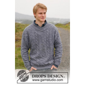 Sir Lancelot by DROPS Design - Knitted Jumper with V-neck and Textured Pattern size S - XXXL