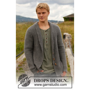Lewis by DROPS Design - Knitted Jacket with broad bands and shawl collar Pattern size S - XXXL