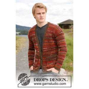 Firecracker by DROPS Design - Knitted Men's Jacket with Pockets Pattern size S - XXXL
