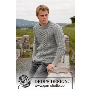 Dreams of Aran by DROPS Design - Knitted Men's Jumper with Cables Pattern size 13/14 years and S - XXXL