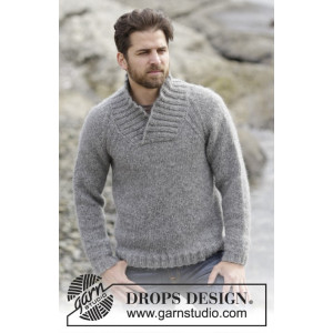 Aberdeen by DROPS Design - Knitted Jumper with Raglan and shawl collar Pattern size S - XXXL