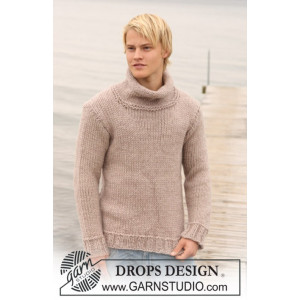 Jakob by DROPS Design - Knitted Men's Sweater Pattern size S - XXXL