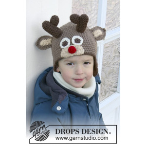 Little Rudolph by DROPS Design - Crochet Hat Pattern size 6 months - 10 years