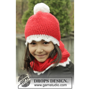 Santa's Favorite by DROPS Design - Crochet Christmas Hat and Scarf Pattern size 3/5 years - 10/12 years