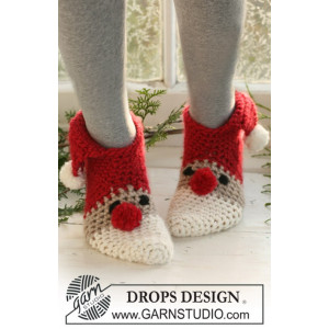 Christmas Slippers by DROPS Design - Crochet Christmas Slippers Pattern size 22 - 44
