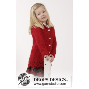 Bright Sally by DROPS Design - Knitted Jacket with cables and Lace Pattern size 2 - 12 years