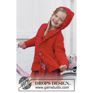 Little Red Riding Hood by DROPS Design - Crochet Children Jacket with Hood Pattern size 3/4 years - 11/12 years
