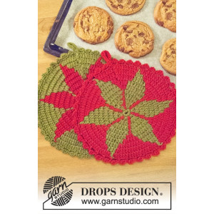 Santa's Recipe by DROPS Design - Crocheted Christmas Pot Holder Pattern 24 cm - 2 pcs