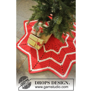 Under the Christmas Tree by DROPS Design - Crochet Christmas Carpet with Stripes Pattern 95 cm