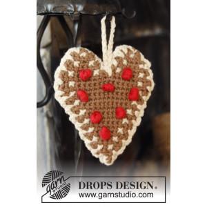 Gingerbread Heart by DROPS Design - Crochet Christmas Heart Pattern 13x11 cm - 2 pcs
