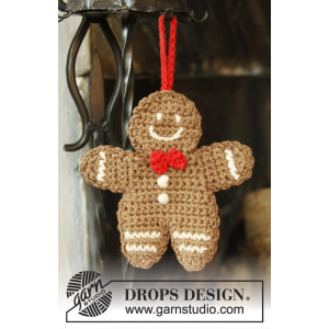 Gingy by DROPS Design - Crochet Gingerbread Man decoration Pattern 15x14 cm - 2 pcs