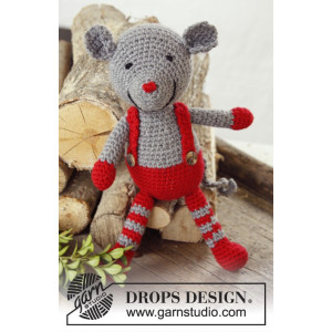 Stuart Little by DROPS Design - Crochet Christmas Mouse with Braces Pattern 28 cm