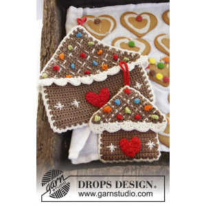 Home Sweet Home by DROPS Design - Crochet Gingerbread House Pot Holder Pattern 6x15 or 23x23 cm