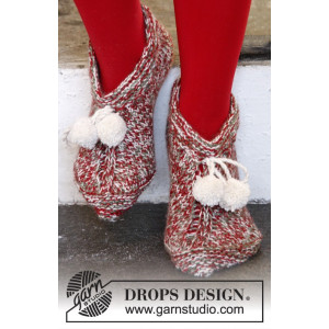 Sockin' Around by DROPS Design - Knitted Christmas Slippers Pattern size 35/37 - 41/43