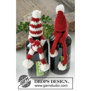 North Pole Pals by DROPS Design - Knitted Hat and Scarf for Bottle Pattern