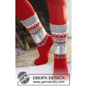Angel Feet by DROPS Design - Knitted Christmas Socks with Angel Pattern size 32 - 43