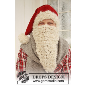 Mr. Kringle by DROPS Design - Knitted Christmas Hat, Scarf and Beard Pattern size S - L