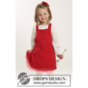 Sweet Alice by DROPS Design - Knitted Dress with Lace Pattern and Hair Bow size 1/3 months - 5/6 years