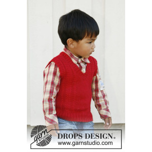 Justus by DROPS Design - Knitted Vest with V-neck and cables Pattern size 3/4 -11/12 years