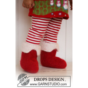 Baby Christmas Slippers by DROPS Design - Felted Baby Christmas Slippers Pattern size 21 - 48