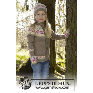 Prairie Fairy by DROPS Design - Knitted Jacket with round yoke and Nordic Pattern size 3/4 - 11/12 years