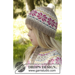 Prairie Fairy Hat by DROPS Design - Knitted Hat with Nordic Pattern size 3/5 - 9/12 years