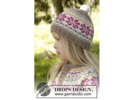 Prairie Fairy Hat by DROPS Design - Knitted Hat with Nordic Pattern size 3 5 f15ab48f678