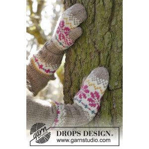 Prairie Fairy Mittens by DROPS Design - Knitted Mittens with Nordic Pattern size 3 - 12 years