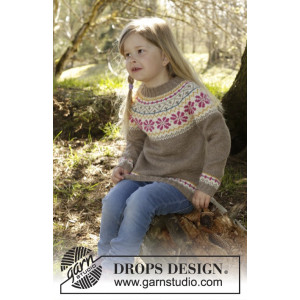 Prairie Fairy Jumper by DROPS Design - Knitted Jumper with Nordic Pattern size 3/4 - 11/12 years