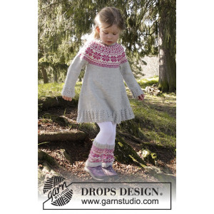 Forest Dance by DROPS Design - Knitted Dress with round yoke and Nordic Pattern size 3/4 - 11/12 years