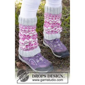 Forest Dance Legwarmers by DROPS Design - Knitted Leg Warmers with Nordic Pattern size 3/5 - 9/12 years