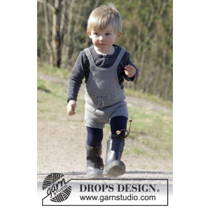 The Little Lumberjack by DROPS Design - Knitted Baby Jumpsuit Pattern size 1/3 - 24 months