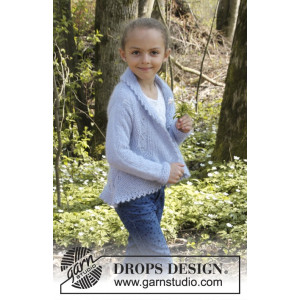 Alvina by DROPS Design - Knitted Circle Jacket with Leaf Pattern size 3/5 - 11/12 years