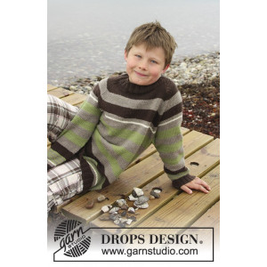 Sticks and Stones by DROPS Design - Knitted Jumper with Stripes and Raglan Pattern size 3/4 - 13/14 years