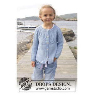 Sweet Bay Jacket by DROPS Design - Knitted Jacket with Leaf Pattern size 3 - 14 years