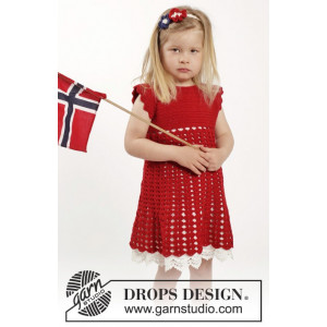 Princess Matilde by DROPS Design - Crochet Dress with fan Pattern and Hair Band size 2 years - 9/10 years
