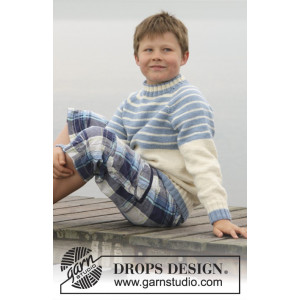 Water Stripes by DROPS Design - Knitted Jumper with Raglan Pattern size 3/4 - 13/14 years