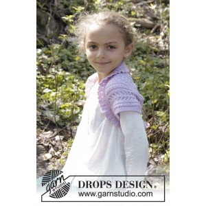 Leelanee by DROPS Design - Knitted Bolero with Lace Pattern size 3/4 - 11/12 years