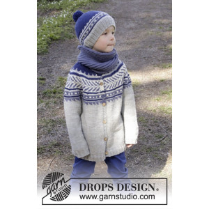 Little Adventure Jacket by DROPS Design - Knitted Jacket with multi-coloured Pattern size 3/4 - 11/12 years