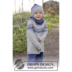 Little Adventure by DROPS Design - Knitted Jumper with Multi-coloured Pattern size 3/4 - 11/12 years